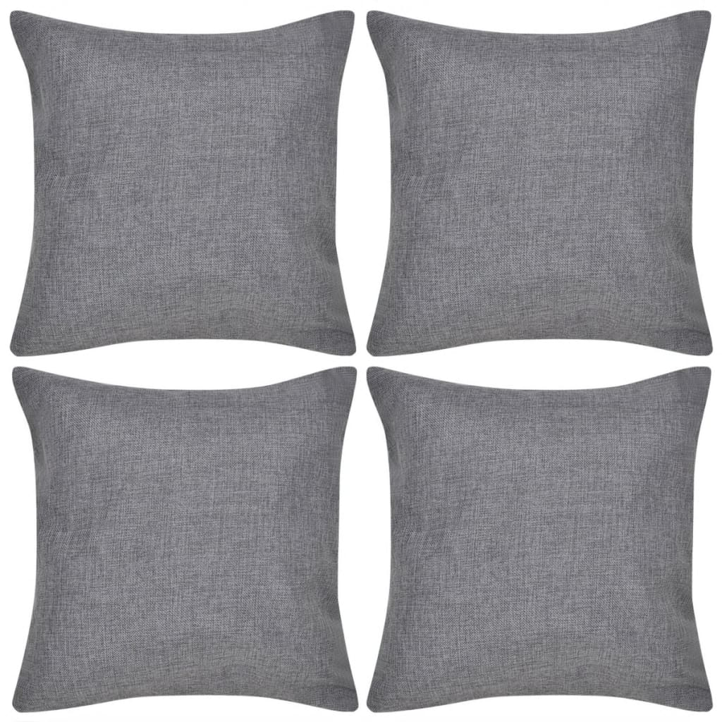 vidaXL 4 Anthracite Cushion Covers Linen-look 50 x 50 cm from vidaXL