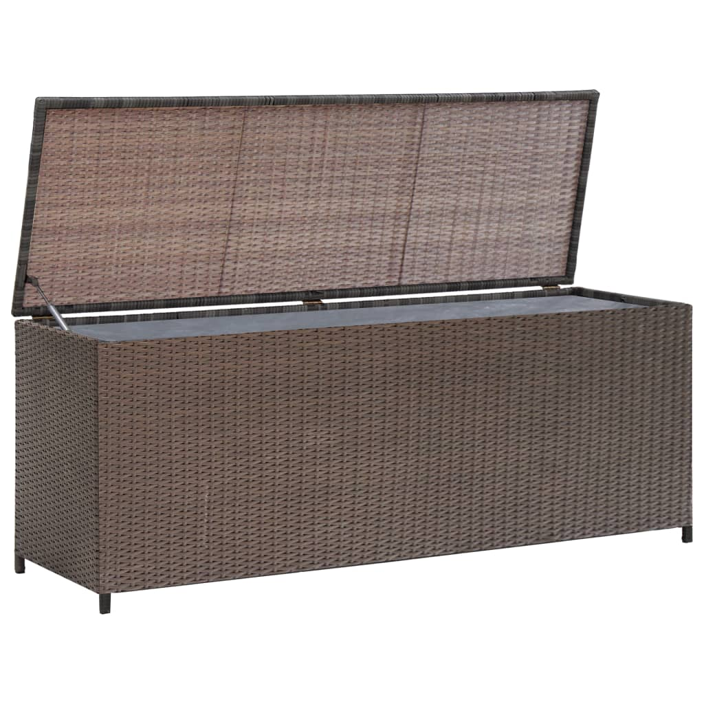 vidaXL Garden Storage Box Brown 120x50x60 cm Poly Rattan from vidaXL