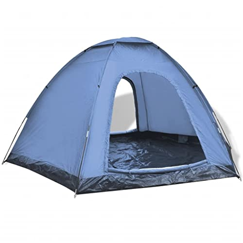 vidaXL 6-Person Camping Hiking Tent 2 Entrances Waterproof Blue Outdoor Family Trip from vidaXL