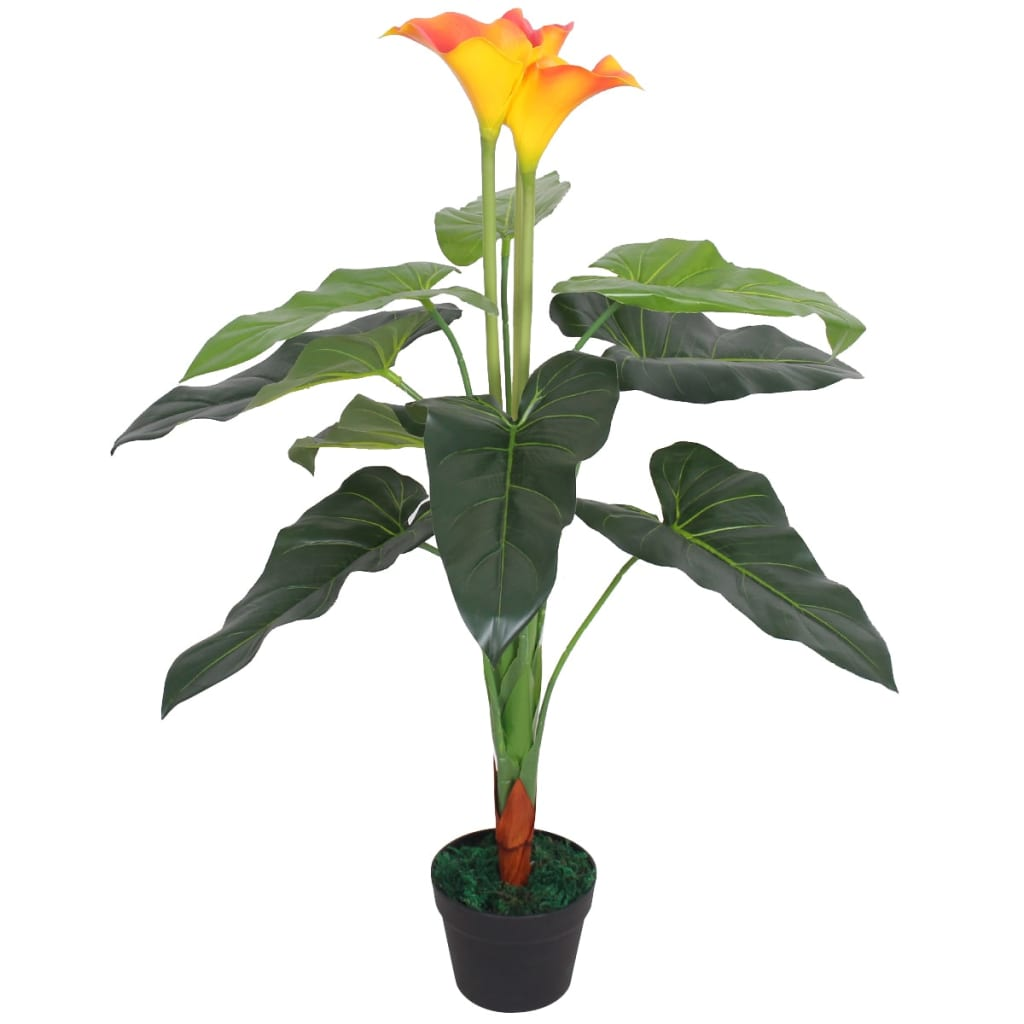 vidaXL Artificial Calla Lily Plant with Pot 85 cm Red and Yellow from vidaXL
