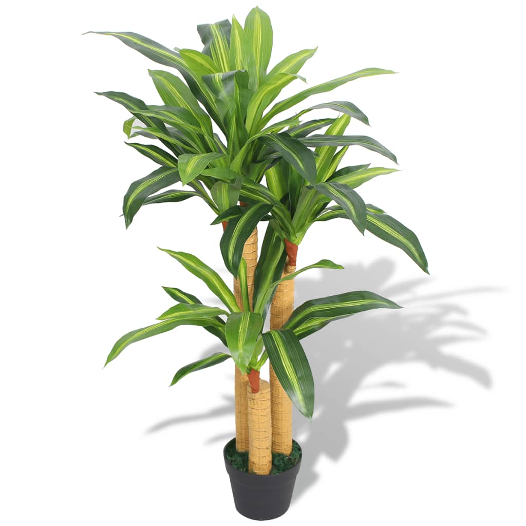 vidaXL Artificial Dracaena Plant with Pot 100 cm Green from vidaXL