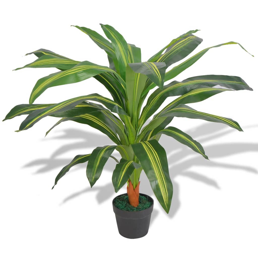 vidaXL Artificial Dracaena Plant with Pot 90 cm Green from vidaXL