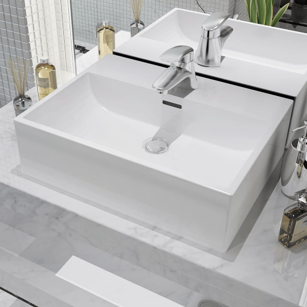 vidaXL Basin with Faucet Hole Ceramic White 51.5x38.5x15 cm from vidaXL