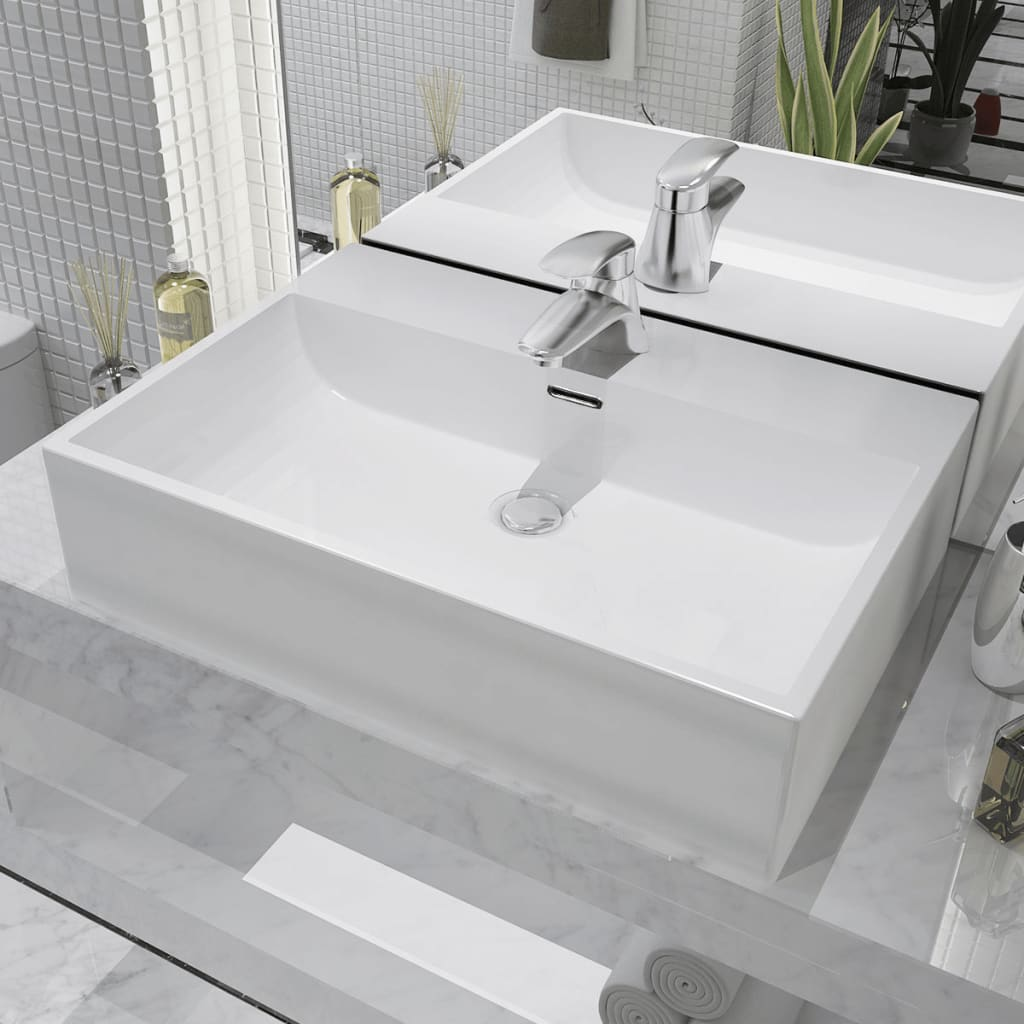 vidaXL Basin with Faucet Hole Ceramic White 60.5x42.5x14.5 cm from vidaXL