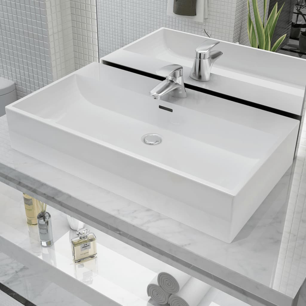 vidaXL Basin with Faucet Hole Ceramic White 76x42.5x14.5 cm from vidaXL