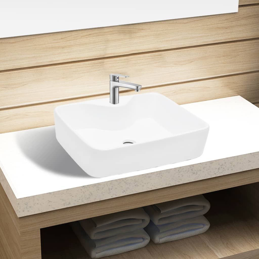 vidaXL Ceramic Bathroom Sink Basin with Faucet Hole White Square from vidaXL