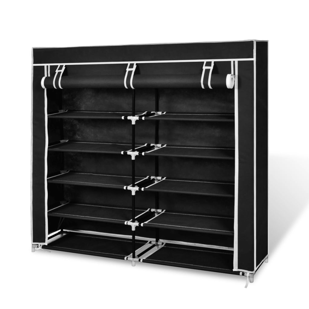 vidaXL Fabric Shoe Cabinet with Cover 115 x 28 x 110 cm Black from vidaXL