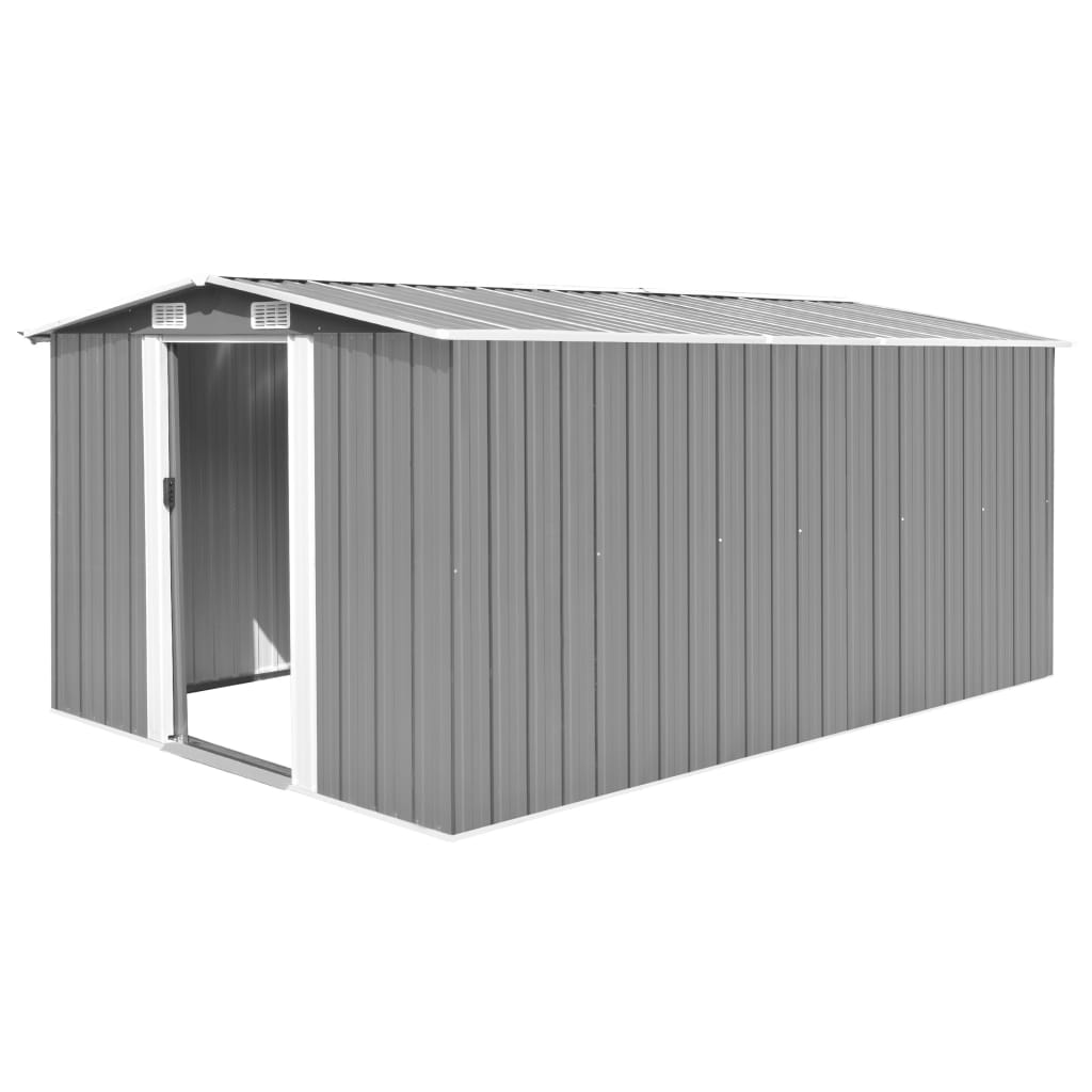 vidaXL Garden Shed 257x398x178 cm Metal Grey from vidaXL