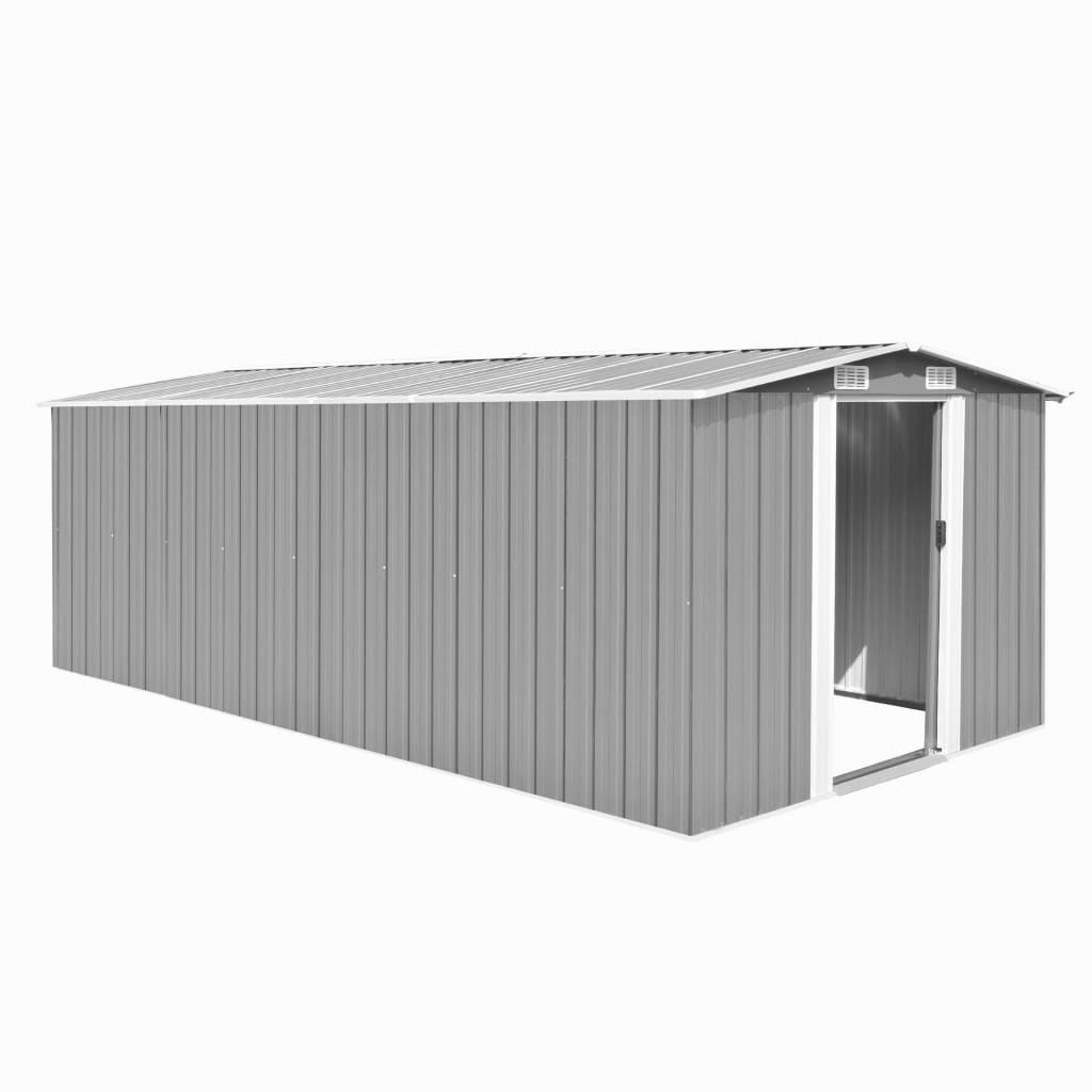 vidaXL Garden Shed 257x497x178 cm Metal Grey from vidaXL