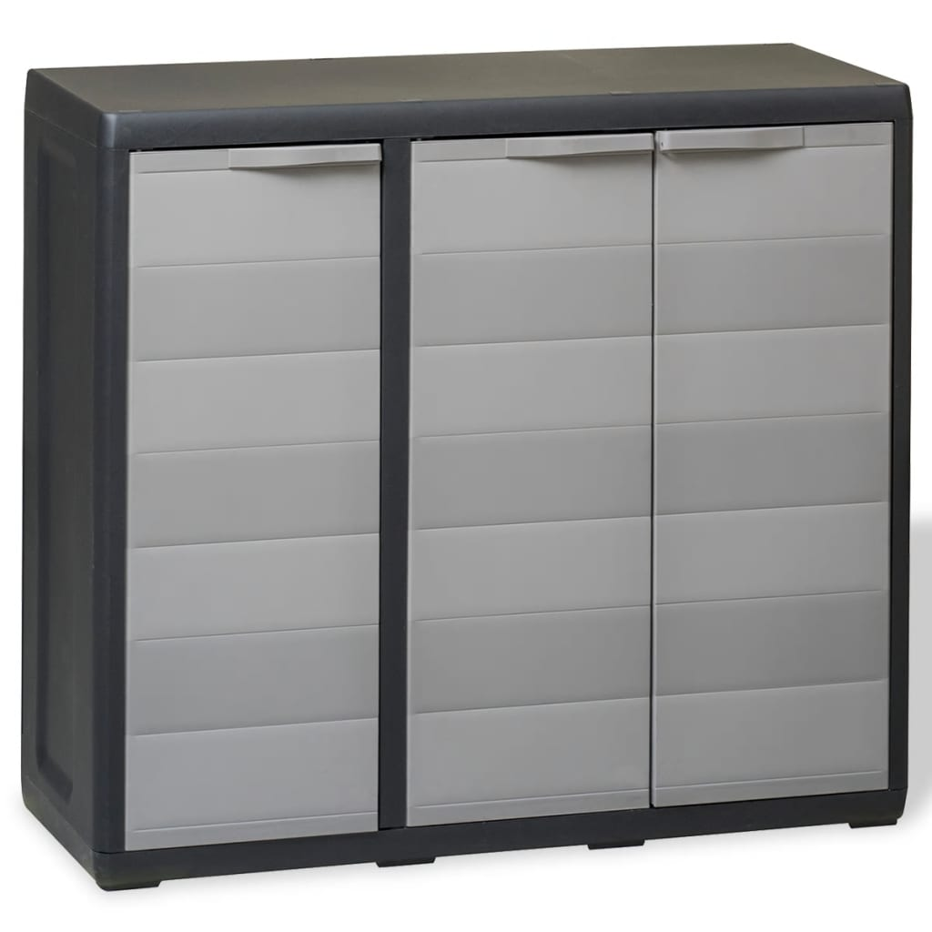 vidaXL Garden Storage Cabinet with 2 Shelves Black and Grey from vidaXL