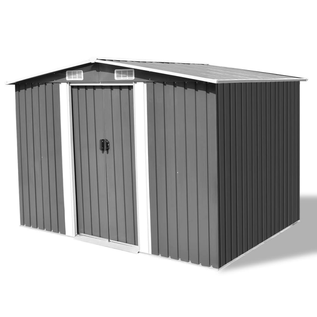 vidaXL Garden Storage Shed Grey Metal 257x205x178 cm from vidaXL