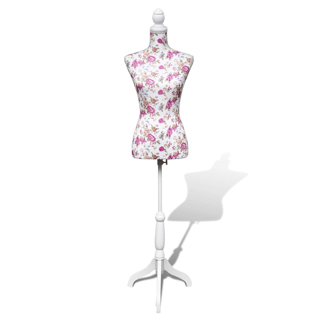 vidaXL Ladies Bust Display Mannequin Cotton White With Rose from vidaXL