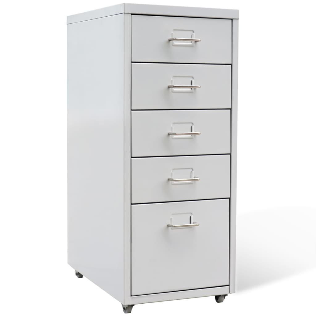 vidaXL File Cabinet with 5 Drawers Grey 68.5 cm Steel from vidaXL