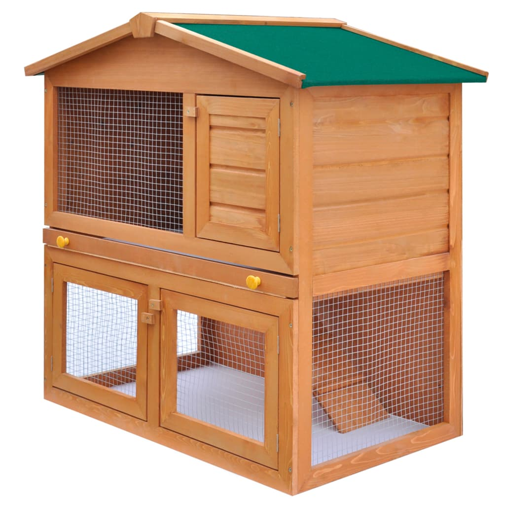 vidaXL Outdoor Rabbit Hutch Small Animal House Pet Cage 3 Doors Wood from vidaXL
