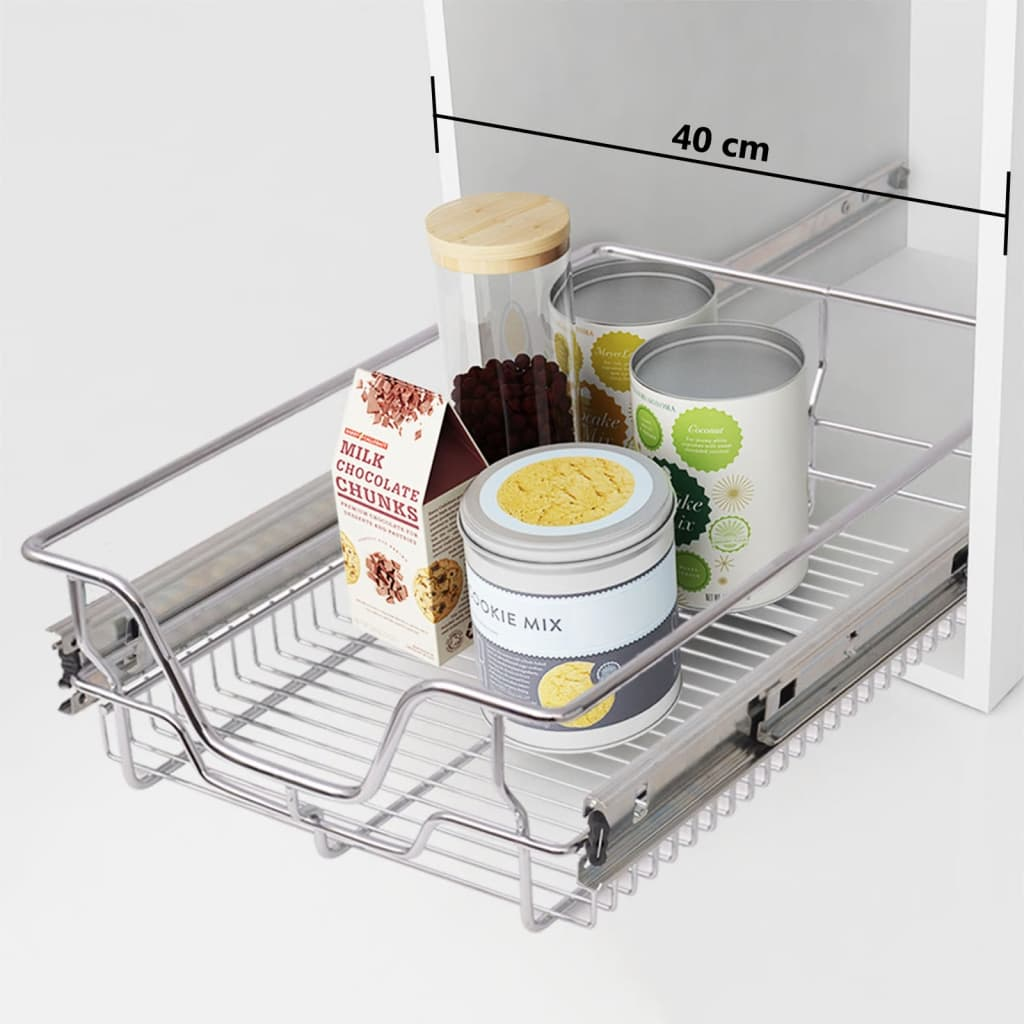 vidaXL Pull-Out Wire Baskets 2 pcs Silver 400 mm from vidaXL