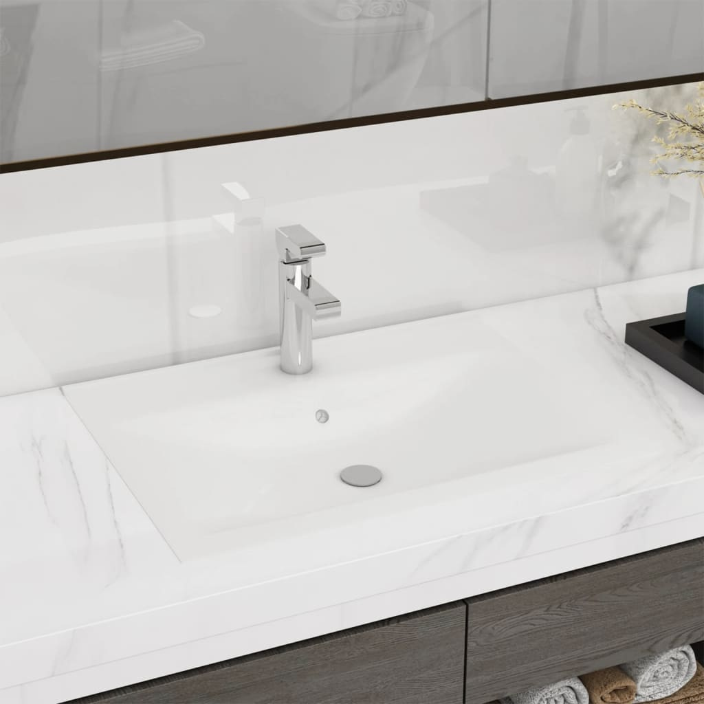 vidaXL Rectangular Ceramic Basin Sink White with Faucet Hole 60x46 cm from vidaXL