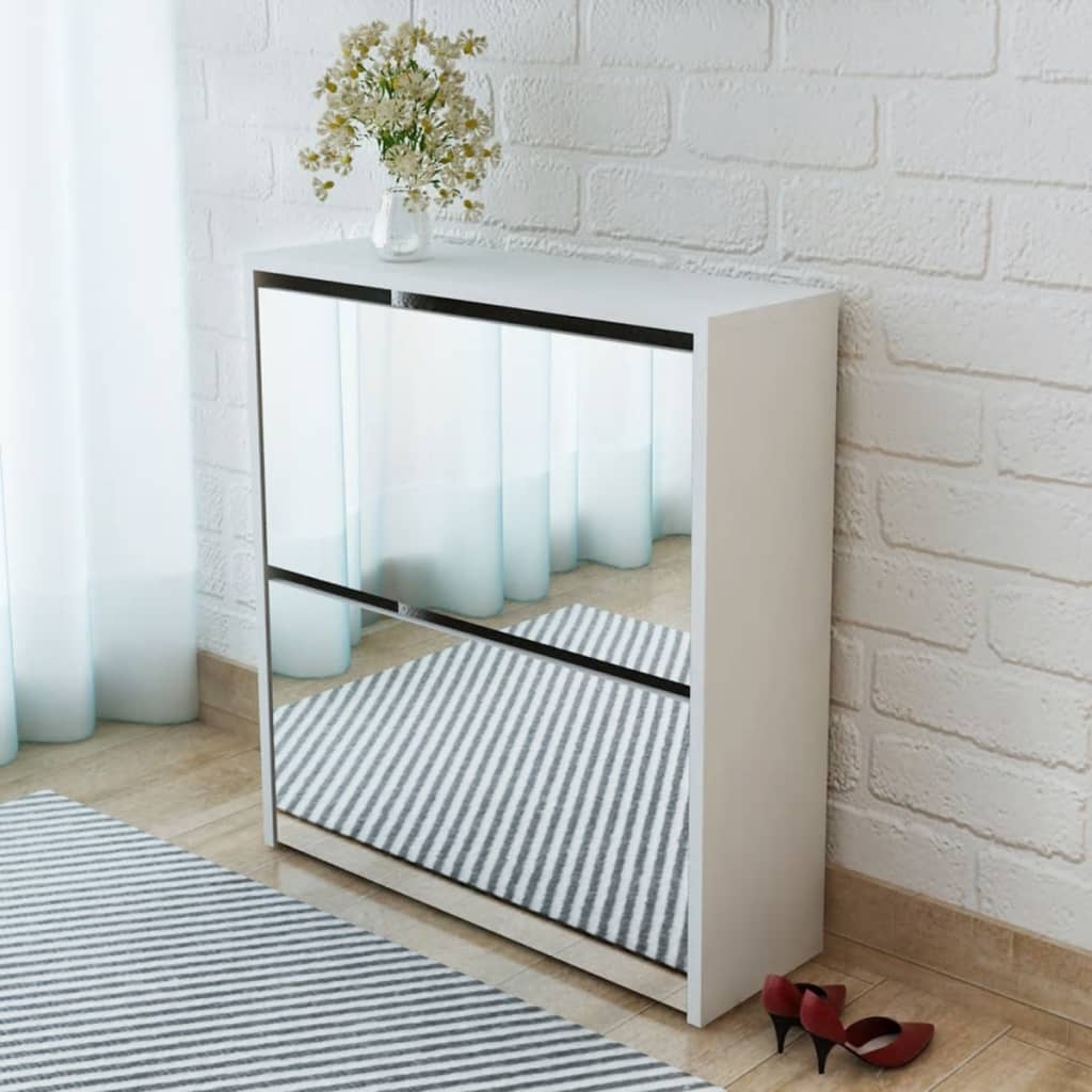 vidaXL Shoe Cabinet 2-Layer Mirror White 63x17x67 cm from vidaXL
