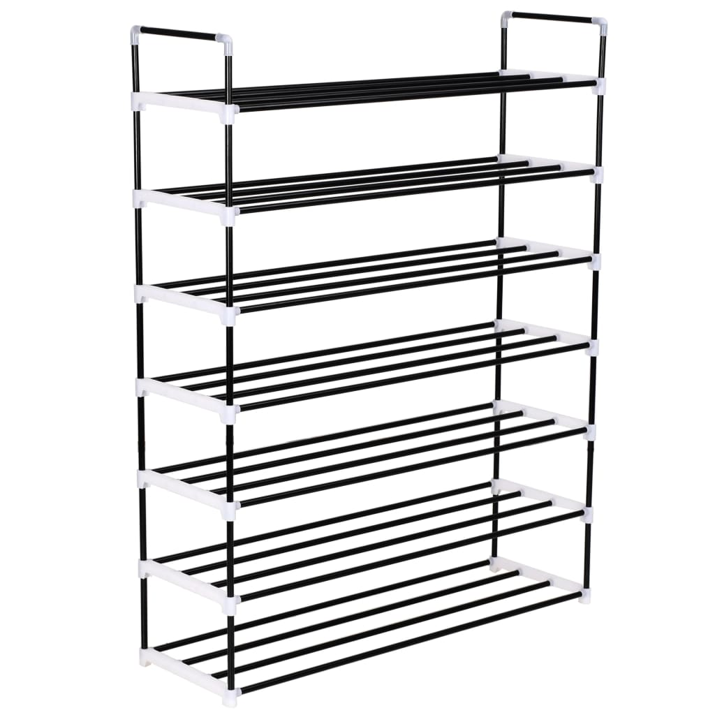 vidaXL Shoe Rack with 7 Shelves Metal and Plastic Black from vidaXL