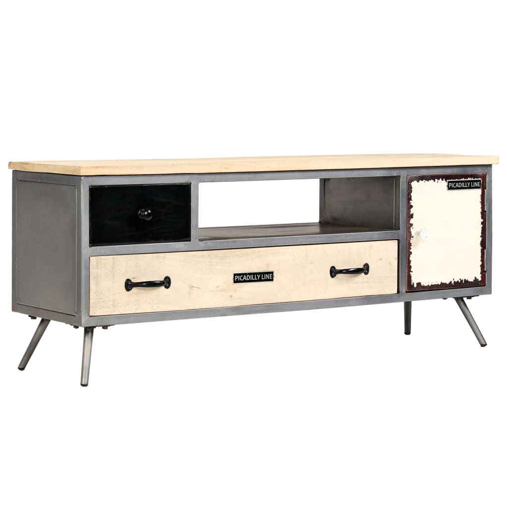vidaXL TV Cabinet Solid Mango Wood and Steel 120x30x45 cm from vidaXL
