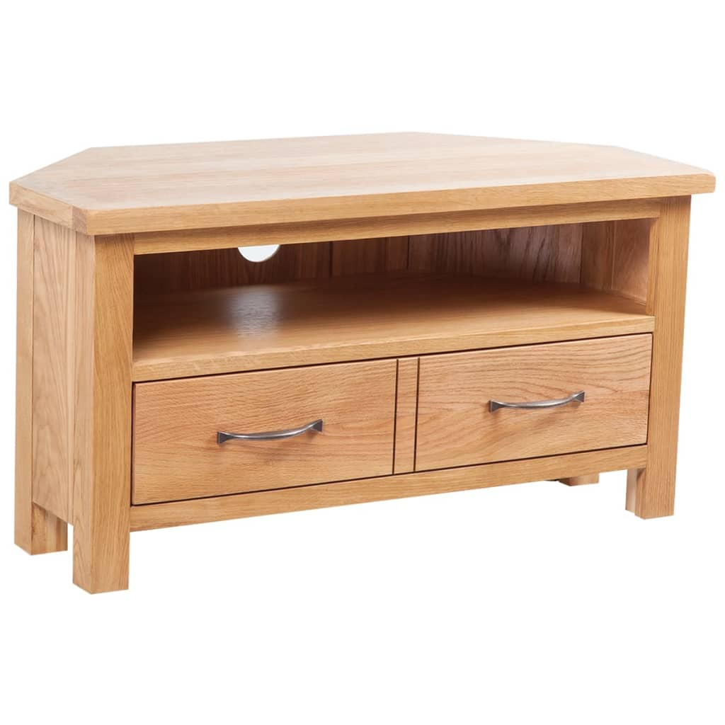 vidaXL TV Cabinet with Drawer 88 x 42 x 46 cm Solid Oak Wood from vidaXL
