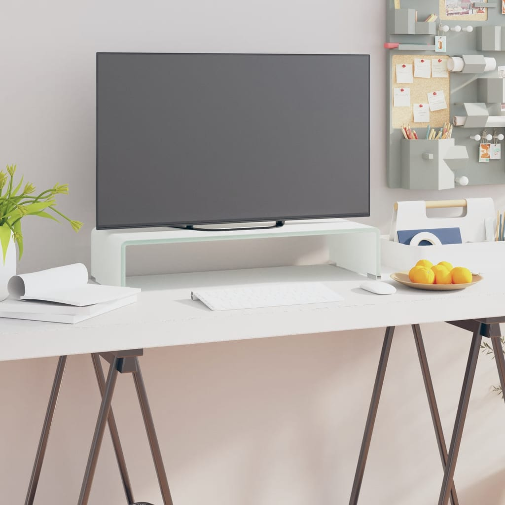 vidaXL TV Stand/Monitor Riser Glass White 60x25x11 cm from vidaXL