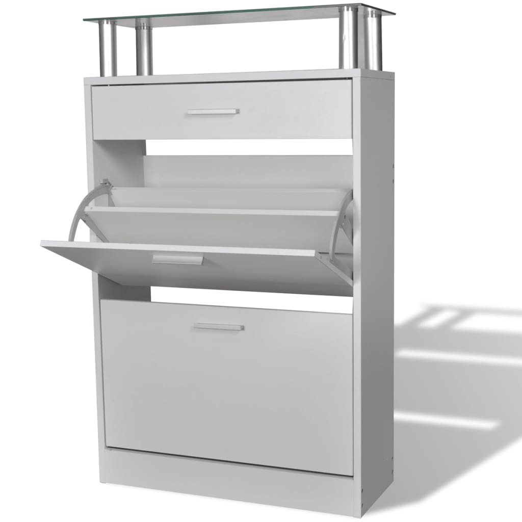 vidaXL Shoe Cabinet with a Drawer and a Top Glass Shelf Wood White from vidaXL