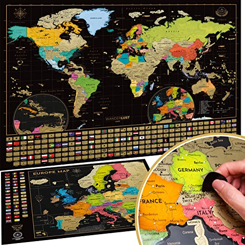 Scratch Off World Map Poster + BONUS Europe Map, Accessories and Gift Packaging | Detailed Travel Map with Landmarks, Country Flags and Vibrant Colours | 61 x 43 CM | The Perfect Gift for Travelers from W WANDERLUST MAPS