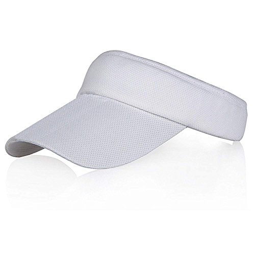 White Colors Sun Visors for Women and Girls, Long Brim Thicker Sweatband Adjustable Hat for Golf Cycling Fishing Tennis Running Jogging and other Sports from Veatree