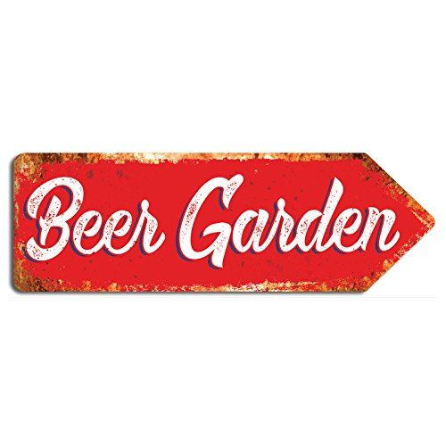 wtf | Beer Garden | Metal Wall Sign Arrow Plaque Art Inspirational (Red) from wtf