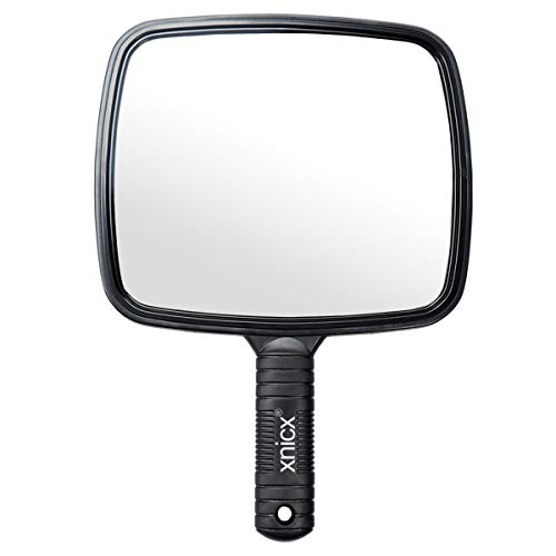 xnicx Hairdressing Hand Mirror Professional Handheld Salon Barbers Hairdressers Paddle Mirror Tool with Handle from xnicx