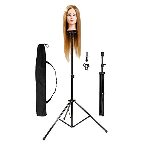xnicx Wig Stand Stainless Steel Adjustable Tripod Stand Head Stand Wig Stand Tripod For Hairdressing Training Head Mannequin Head With Carry Bag from xnicx