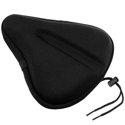 Zacro Large Gel Exercise Bike Seat - Cushion Bicycle Seat Saddle with Black Waterproof Seat Cover - Suitable for Outdoor and Indoor Bicycle from Zacro