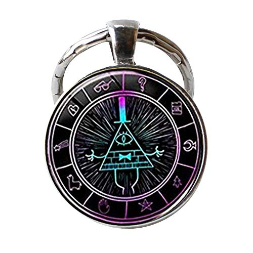 "Gravity Falls Bill Cipher Wheel Scrabble Keychain,Unique Hand Designed Gravity Falls""Psychadelic"" Bill Cipher Inspired Keychain Jewelry Gift/Gifts for Men & Women from zhouyudong"
